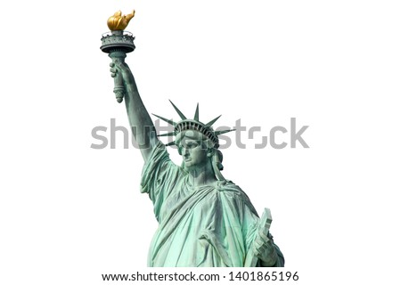 Beautiful view isolated Statue of Liberty. Liberty Island in New York. Harbor in New York.