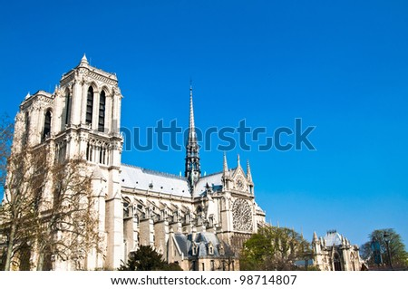 beautiful view Notre Dame Cathedral in paris france (French for Our Lady of Paris) - stock photo