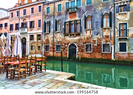 Beautiful view of a canal in Venice, Italy