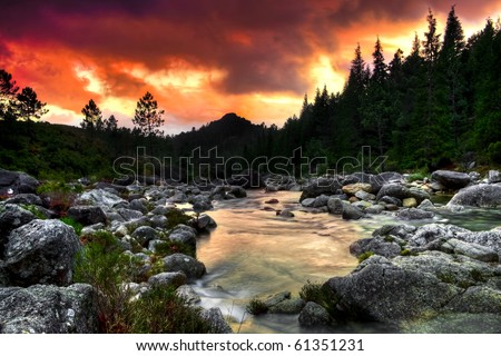 Beautiful view of a mountain river at sunset