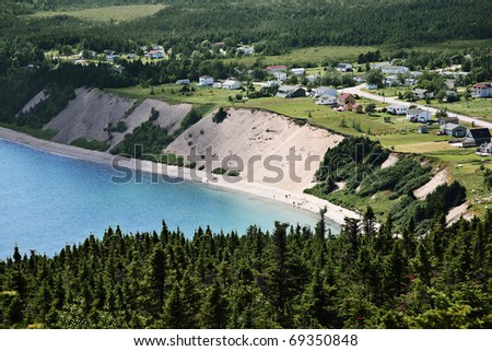 Beautiful view of a Sandy Cove, small town in Newfoundland, Canada