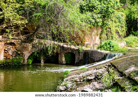 Beautiful view of a waterfall in a river next to molino del algarrobo in alcala de guadaira. Spring season, vivid natural colors, leafy trees, summer vibes. Tourism point. Foto stock ©