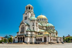 Beautiful view of Alexander Nevsky Cathedral in Sofia, the capital of Bulgaria