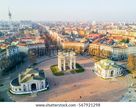 Beautiful view of Arco della Pace located in Parco sempione park in Milan