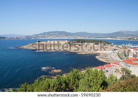 Beautiful view of Baiona with a blue sea