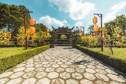 Beautiful view of Bat Nha Pagoda in Bao loc city, Lam Dong province, Vietnam. Text in photos mean Bat Nha pagoda (Vietnamese language). Travel and religion concept.