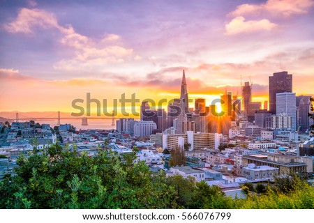 Beautiful view of business center in downtown San Francisco in USA at dusk.