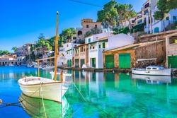 Beautiful view of Cala Figuera, old fishing harbor on Mallorca, Balearic Islands, Spain Mediterranean Sea