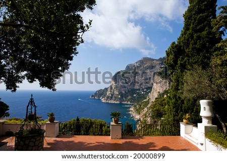 Beautiful view of Capri Island from classical italian terrace, southern Italy