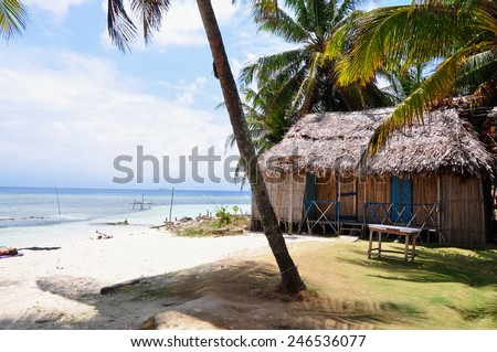 Beautiful view of caribbean sea and Palm Tree. Latin American Culture.