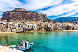 Beautiful view of cefalu, little town on the sea in Sicily, Italy