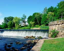 Beautiful view of Charles River and waterfall in South Natick Dam Park Natick Massachusetts USA