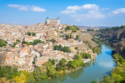 Beautiful view of city of Toledo from Mirador del Valle viewpoint - Toledo, Spain