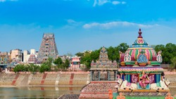 Beautiful view of colorful gopura in the Hindu Kapaleeshwarar Temple,chennai, Tamil Nadu, South India
