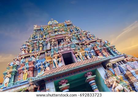Gopuram (tower) of Hindu temple Kapaleeshwarar , Chennai