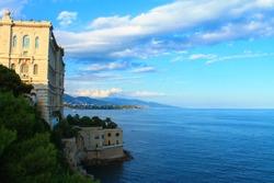 Beautiful view of Cousteau Oceanographic Museum on cliff above sea, Monaco-Ville, Principality of Monaco
