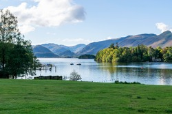 Beautiful view of Derwentwaterin the quaint market town of Keswick in the Lake District, England UK. The lake is three miles long and is fed by the River Derwent. No people. Pure natural beauty.