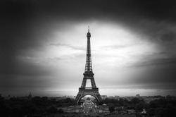 Beautiful view of Eiffel Tower from Trocadero viewpoint in black and white fine art