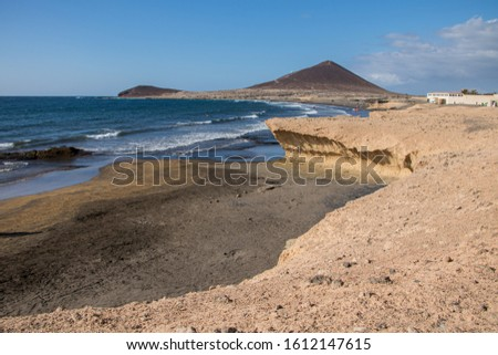 Beautiful view of El Medano beach, surfer's beach in Tenerife, Canary Island, Spain Foto stock ©