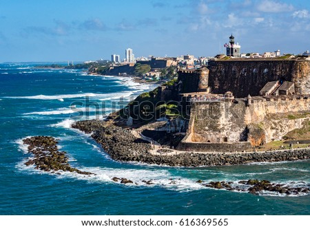 Beautiful view of El Morro, historical ruins in San Juan, Puerto Rico