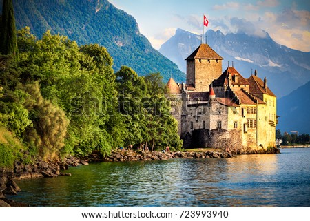 Beautiful view of famous Chateau de Chillon at Lake Geneva #723993940
