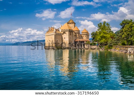 Beautiful view of famous Chateau de Chillon at Lake Geneva, one of Switzerland\'s major tourist attractions and most visited castles in Europe, Canton of Vaud, Switzerland