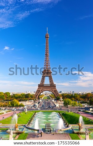 Beautiful view of famous Eiffel Tower in Paris France