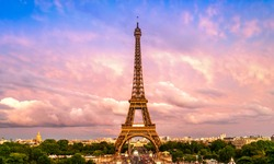 Beautiful view of famous Eiffel Tower in Paris, France. Paris Best Destinations in Europe.