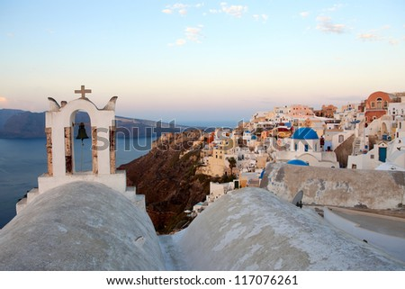 Beautiful view of famous Greek churches in the mediterranean island of Santorini.