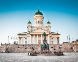 Beautiful view of famous Helsinki Cathedral in beautiful evening light, Helsinki, Finland