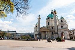 Beautiful view of famous Saint Charles's Church (Wiener Karlskirche) at Karlsplatz in Vienna(Wien), Austria