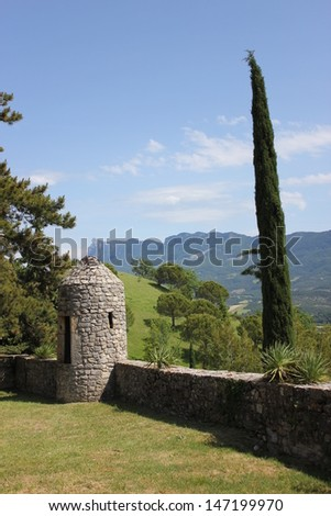 Beautiful view of french garden in Mirabel et Blacons village in south of France, Drome valley