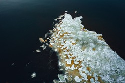 Beautiful view of frozen seawater and ice texture in winter, Ice floes in Baltic seawater