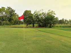 Beautiful view of green golf course