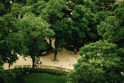 beautiful view of green park area for relaxation  in Budapest city, travel concept