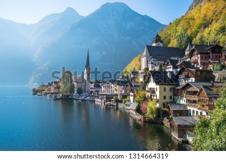 Beautiful view of Hallstatt, a Unesco World Heritage village, by the morning - Hallstatt, Austria