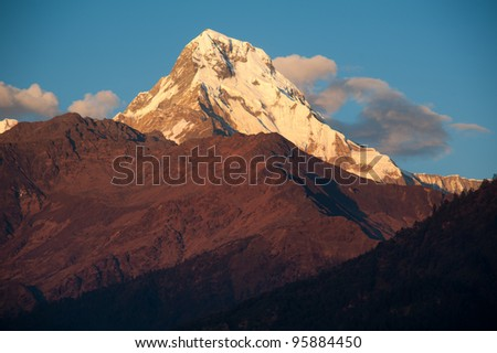 Beautiful view of Himalayan mountains when see during Poonhill peak trekking way, Nepal