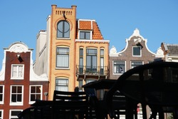 Beautiful View Of Historical Street In The Amsterdam City. Geometric Pattern Street. Light And Shadow.