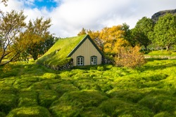 Beautiful view of Hofskirkja,  the last turf church in Iceland on Hof village