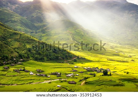 beautiful view of house and village in rice terrace at tu le ,mu cang chai , vietnam