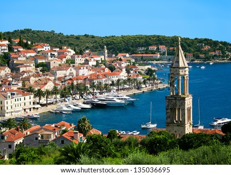 Beautiful view of Hvar town on Hvar island Croatia