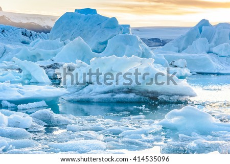 Beautiful view of icebergs in Jokulsarlon glacier lagoon, Iceland, global warming and climate change concept