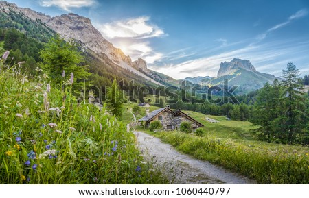 Stock Photo Beautiful view of idyllic alpine mountain scenery with traditional old mountain chalets and fresh green meadows on a sunny day with blue sky and clouds in springtime, South Tyrol, Italy