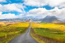 Beautiful view of Ingjaldsholskirkja church in Hellissandur village - Iceland