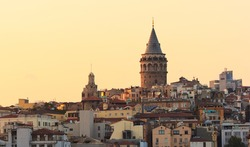 Beautiful view of Istanbul at sunset. Galata tower, Turkey