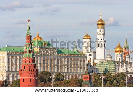 Beautiful view of Kremlin with churches  during cloudy day. Moscow,Russia
