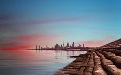 beautiful view of kuwait city during sunrise
