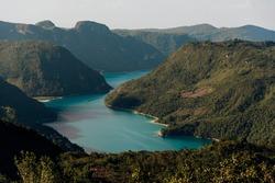 beautiful view of laguna brava from a viewpoint in huehuetenango
