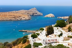 Beautiful view of Lindos bay, Rhodes, Greece