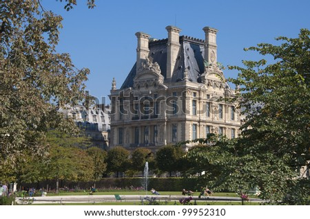Beautiful view of Louvre palace, Tuileries garden side, Paris, France